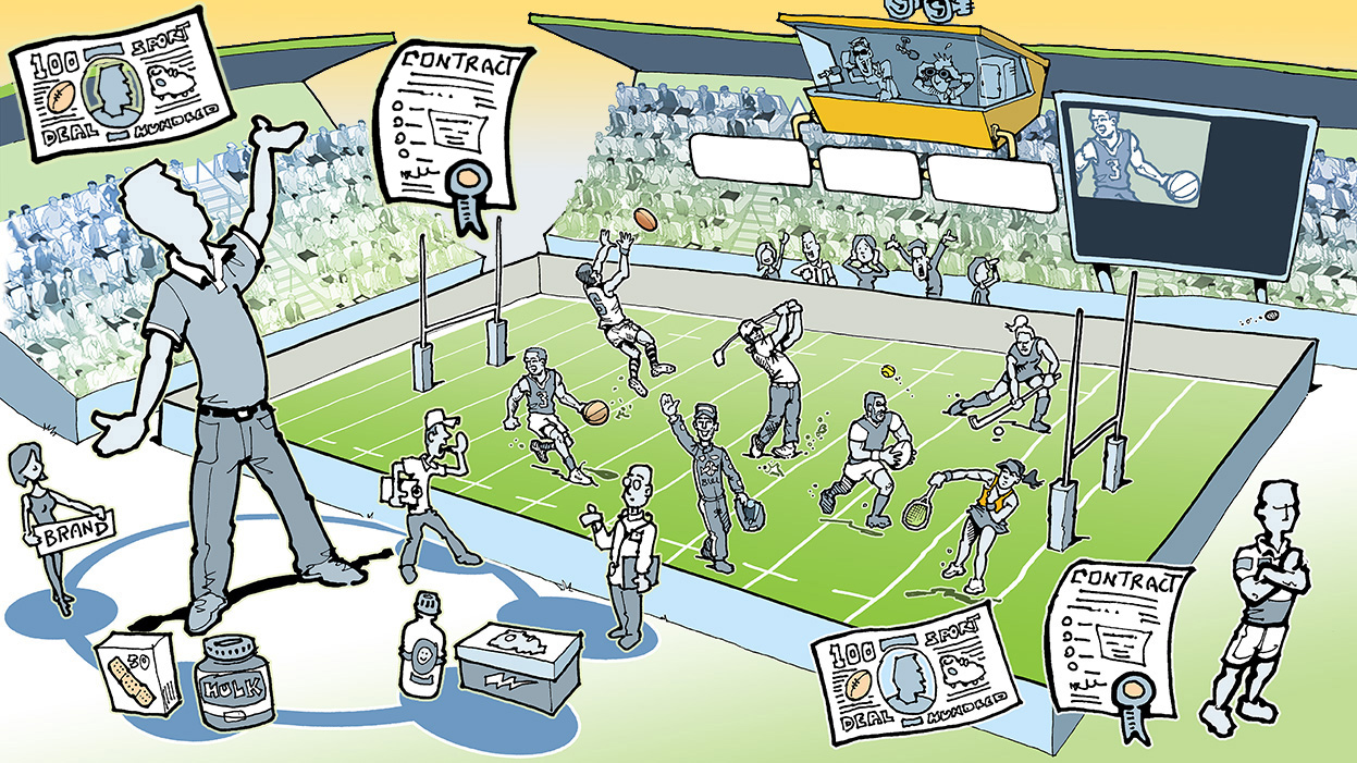 Management - Negotiator - Contracts - Stadiums - Sports Teams - Cartoon